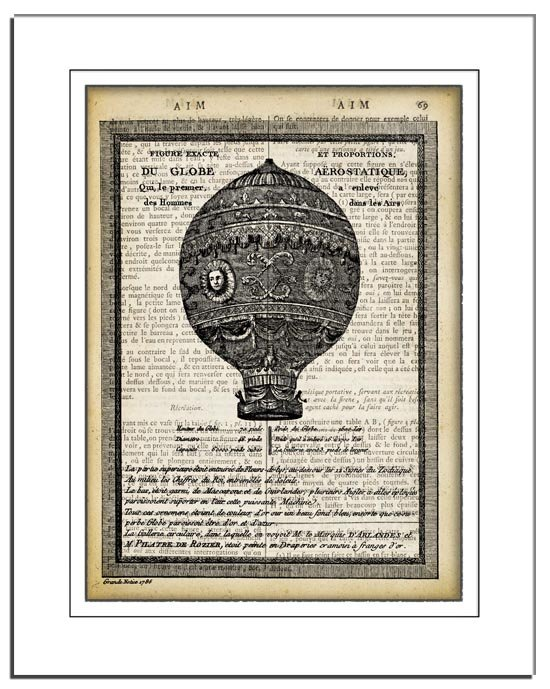 Art Print, Vintage AIR BALLOON Dictionary Page Print 0023