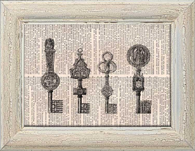 Art Print, Vintage KEYS Dictionary Page Print 0019