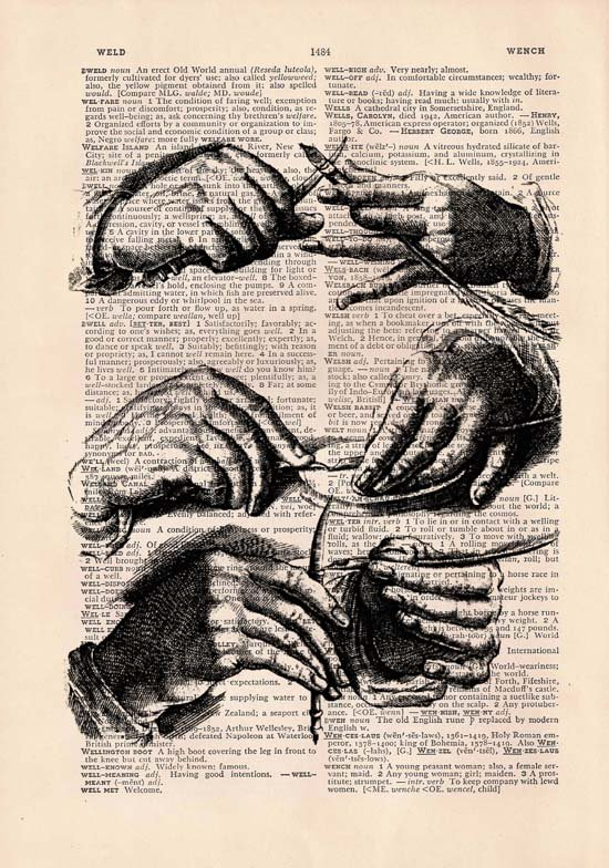Art Print, Vintage, Hands Dictionary Page Print 0018
