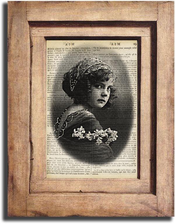 Vintage VINTAGE GIRL Portrait Dictionary Page Print 0011
