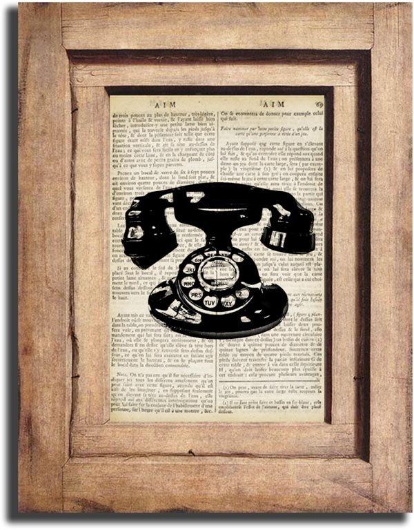 Art Print, Vintage TELEPHONE Dictionary Page Print 0010