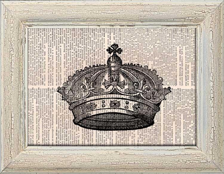 Art Print, Vintage CROWN Dictionary Page Print 0007