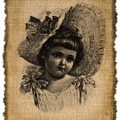Vintage Girl, Ephemera, Altered, Handmaid, Digital Image No.32