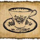Vintage TEACUP, Altered, Printable, Iron On, Ephemera, Digital Image No. 196