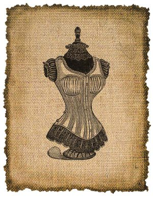 VINTAGE Dress Form, Iron on, Ephemera, Altered, Digital Image Transfer No. 209