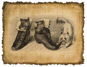 Vintage , Kitties and Dog, Altered, Printable, Iron On, Ephemera, Digital Image No. 226