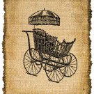 Vintage, BABY CARRIAGE, Altered, Printable, Iron On, Ephemera, Digital Image No. 232