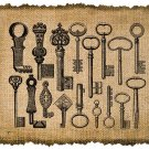 Vintage Keys, Altered, Printable, Iron On, Ephemera, Digital Image No. 278