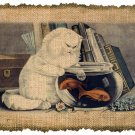 Vintage , CAT and GOLDFISH, Ephemera, Altered, Digital Image Transfer No. 291