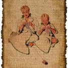 Vintage, Mother and Daughter Knitting, Altered, Ephemera, Iron on, Image No. 299