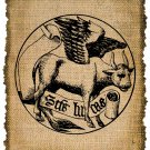 Vintage, Symbol Of Saint Luke,  Altered, Printable, Iron On, Ephemera, Digital Image No. 332