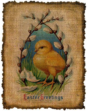 Vintage, Easter , Altered, Ephemera, Digital Image Iron On, PRINT Transfer No.428