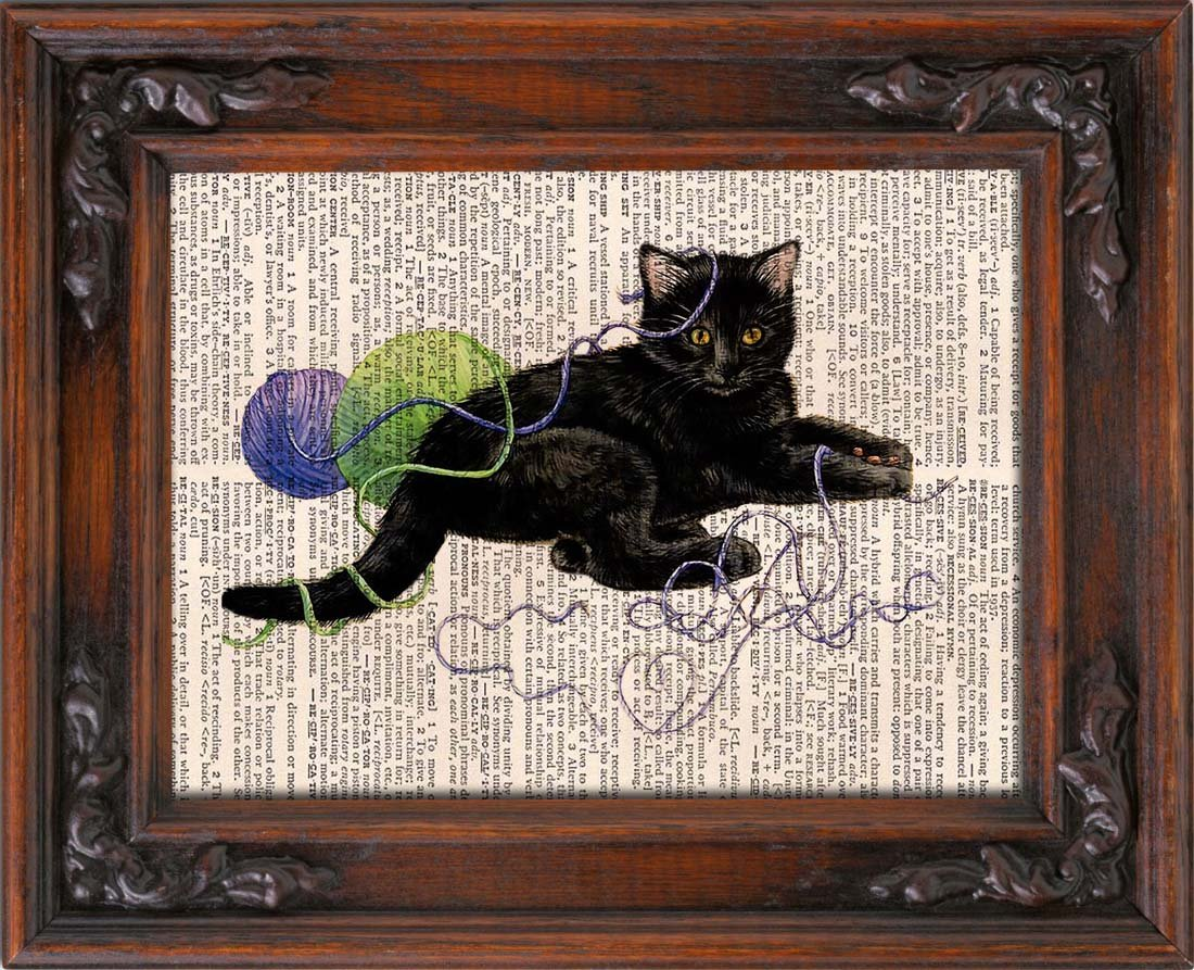Art Print, Kitten Playing, Vintage, Dictionary Page Print 0114