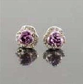 Crystal Purple Rose 925 Silver Ear Pin Earrings (Pair)