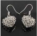 Glamorous Designer Crystal 925 Silver Earrings (Heart Design)