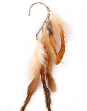 Grizzly Long Feather Ear Cuff Accessory Pheasant Earring Wrap Bohemian Boho Hippie Gypsy