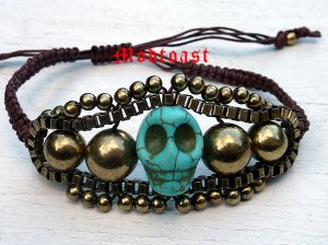 Dia de Los Muertos Skull & Brown Cord Bracelet Adjustable Antique Gold Turquoise Day of the Dead