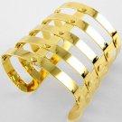 Armor Cuff Bracelet Statement Wrap Bangle Gold Avant Garde Designer Style