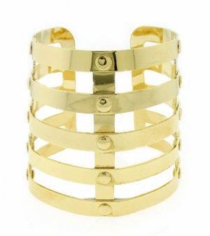 Tribal Armor Cuff Bracelet Statement Wrap Bangle Gold Avant Garde Designer Style Jewelry