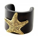 Wooden Starfish Bracelet Embossed Antique Gold Statement Brown Wood Cuff