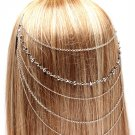 Head Chain Draping Chains Iridescent Hematite Crystal Wedding Jewelry Bridal Fashion Statement