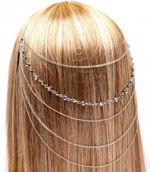 Head Chain Draping Chains Iridescent Hematite Crystal Wedding Jewelry Bridal Fashion Statement