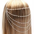 Draping Chains & Iridescent Crystal Beads Head Armor Chain Silver Hair Accessory Statement Armour