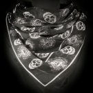 Skull Scarf Halloween Black Silver Day of the Dead Skeleton Bones