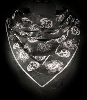 Skull Scarf Halloween Black Silver Day of the Dead Skeleton Bones
