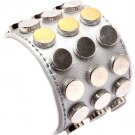 Stud Detail Cuff Silver Faux Leather Bracelet Chunky Statement