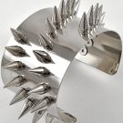 Spike Cuff Bracelet Punk Chunky Armor Metal Studded Rivet Silver Statement Unisex