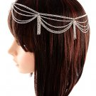 Draping Chains Head Armor with Tassles Chain Silver Hair Accessory Statement Armour