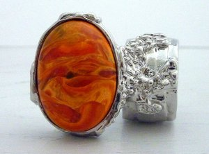 Arty Oval Ring Orange Marble Swirl Silver Chunky Armor Knuckle Art Statement Cage Deco Size 5