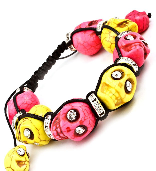 Day of the dead skull bracelet pink yellow black crystal for Day of the dead body jewelry