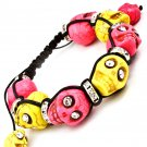 Day of the Dead Skull Bracelet Pink Yellow Black Crystal Eyes Shamballa Howlite Dia de Los Muertos