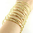 Abstract Wire Wrap Armor Cuff Bracelet Statement Bangle Gold Avant Garde Armour