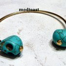 Skinny Double Skull Cuff Bracelet Turquoise Howlite Gold Bangle Blue Carved Stone Day of the Dead