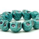 Day of the Dead Turquoise Skull Bracelet Dia de Los Muertos Stretch Cuff Chunky Carved Stone