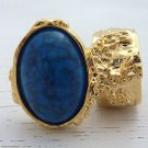 Arty Oval Ring Turquoise Gold Chunky Armor Knuckle Art Statement Cage Deco Size 8.5