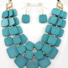 Blue Flat Squares Necklace & Earrings Layered Beads Gold Crystal Statement Chunky