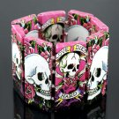 Skull & Rose Tattoo Bracelet Day of the Dead Paper Art Decoupage Silver Beads Stretch Statement