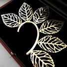 Leaf Ear Cuff Wrap Earring Gold Designer Style Body Armor Statement Leaves