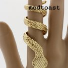 Snake Ring Serpent Python Reptile Gold Rihanna Inspired Statement Tribal Armor SZ 7, 8, 9