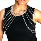 Shoulder Chain Body Jewelry Double Armor Draping Layered Chains Silver Statement Avant Garde Fashion