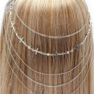 Head Armor Cross and Draping Chains Chain Silver Hair Accessory Armour Statement Avant Garde