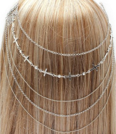 Headchain Cross Crystal Studs Hair Comb Silver Hair Accessory Statement Avant Garde Jewelry Fashion