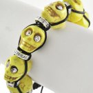 Skull Cuff Bracelet Yellow Black Crystal Eyes Beaded Shamballa Howlite Day of the Dead