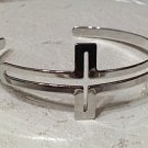 Sideways Cross Cuff Bracelet Silver Open Design