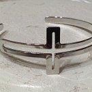 Sideways Cross Cuff Bracelet Silver Open Design
