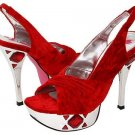 Promiscuous Red Velvet Shoes Rhinestone Inlay Gem Design Dance Heels Hot Pink Womans Size 9